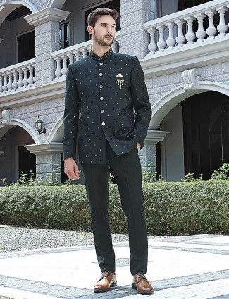 Bottle green terry rayon jodhpuri suit for party