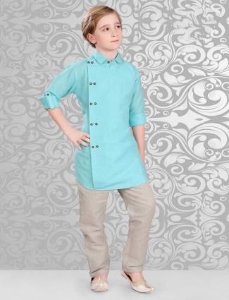 Boys aqua color pathani suit