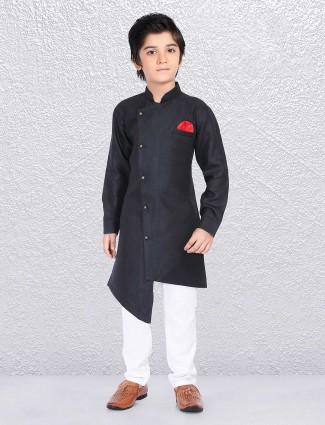 Boys black huy festive kurta suit