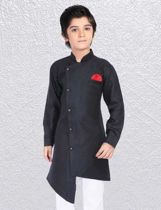 Boys black huy festive short kurta