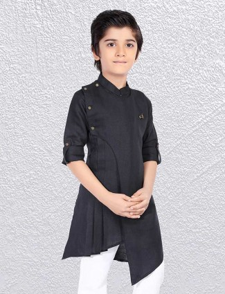 Boys black stand collar short kurta