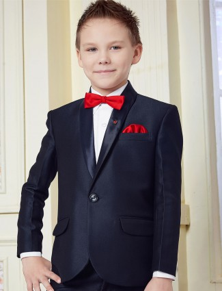 Boys navy color solid tuxedo suit