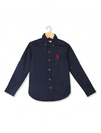 Boys U S Polo plain navy cotton shirt