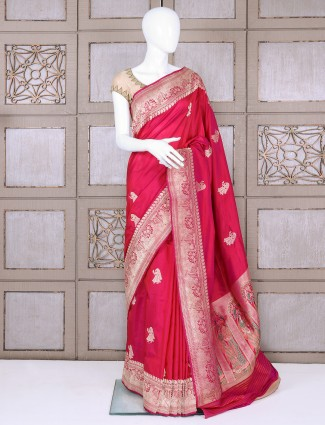 Bridal pure banarasi silk magenta saree