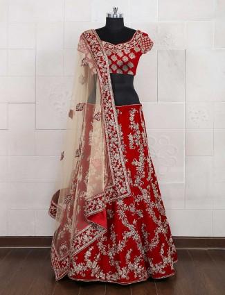 Bridal red designer semi stitched lehenga choli