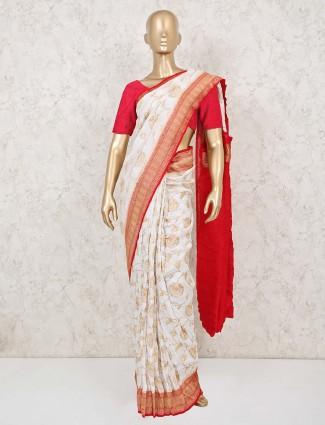 Bridal special white red munga silk saree