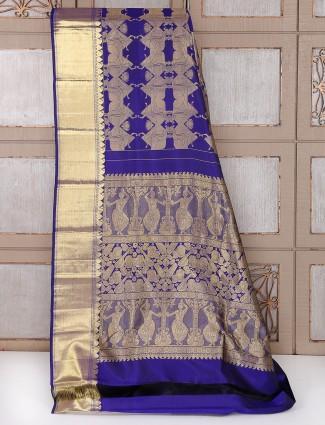 Bridal wear blue royal silk saree