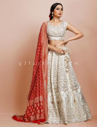 Bridal wear cream silk designer lehenga choli