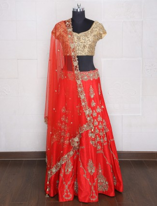 Bridal wear designer raw silk red lehenga choli