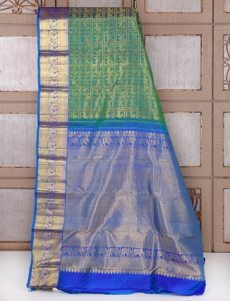 Bridal wear Green and blue silk fabric saree