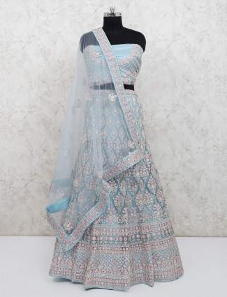 Bridal wear light blue net semi stitched lehenga choli