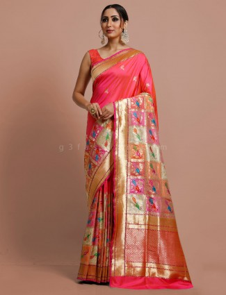 Bridal wear magenta banarasi silk saree