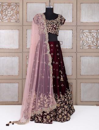 Bridal wear maroon velvet lehenga choli
