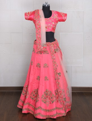 Bridal wear pink silk unstitched lehenga choli