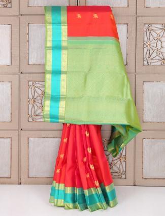 Bridal wear red and green color slk saree