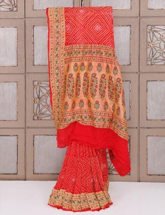 Bridal wear red bandhej saree