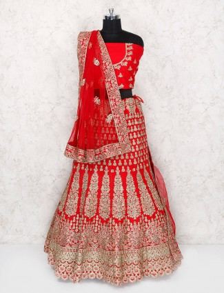 Bridal wear red color designer semi stitched lehenga choli