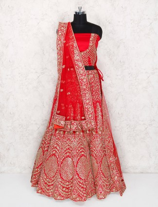 Bridal wear red designer semi stitched lehenga choli
