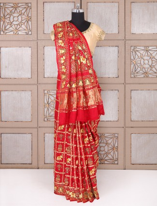 Bridal wear red silk saree for wedding function