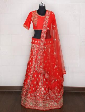 Bridal wear red unstitched lehenga choli