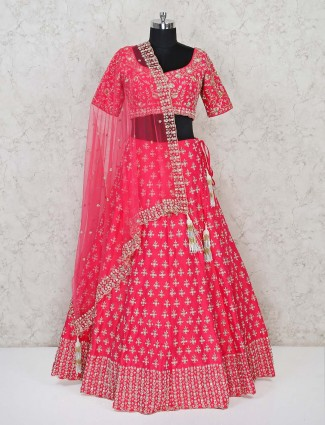 Bridal wear silk pink exclusive lehenga choli