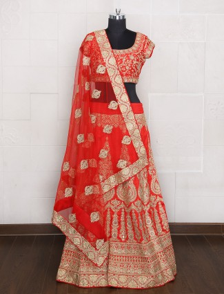 Bridal wear unstitched lehenga choli in red color