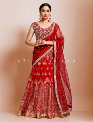 Bridal wear wine maroon traditional lehenga choli