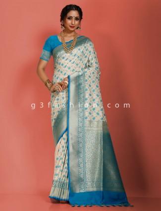 Bright look cream art banarasi silk designer saree