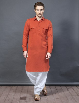 Bright orange color wedding pathani suit