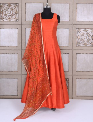 Bright orange plain anarkali suit