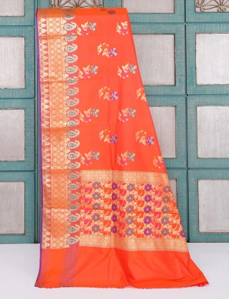 Bright orange semi silk saree for wedding wear