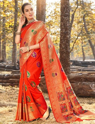 Bright orange wedding wear soft silk saree