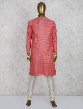Bright peach cotton fabric kurta suit for festive