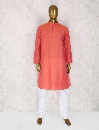 Bright peach cotton silk kurta suit
