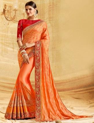 Bright peach silk fabric saree for wedding