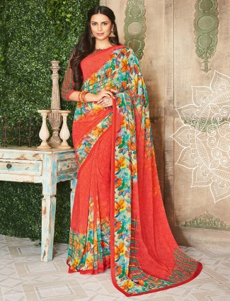 Bright peach printed georgette sari