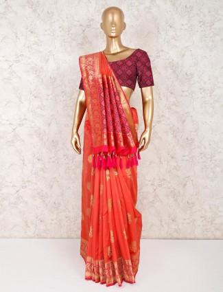 Bright peach semi silk saree for wedding wear