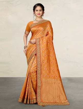 Bright peach wedding banarasi silk saree