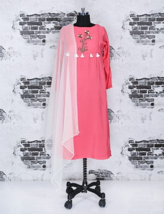 Bright pink color cotton punjabi suit