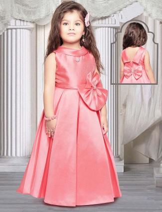 Bright pink color terry rayon gown