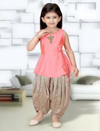 Bright pink raw silk dhoti suit