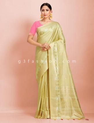 Bright Pista green art kanjivar silk traditional designer saree