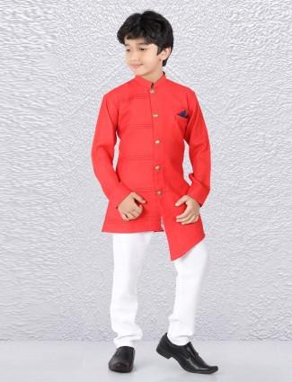 Bright red color pleates pattern kurta suit
