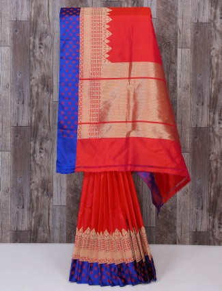 Bright red color silk saree for bridal wear