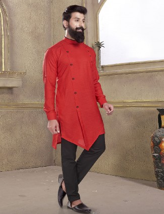 Bright red cotton silk kurta suit