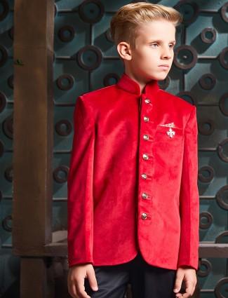 Bright red velvet jodhpuri blazer