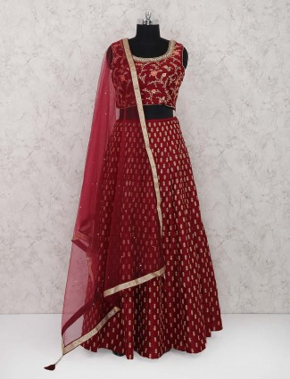 Bright red wedding function lehenga choli