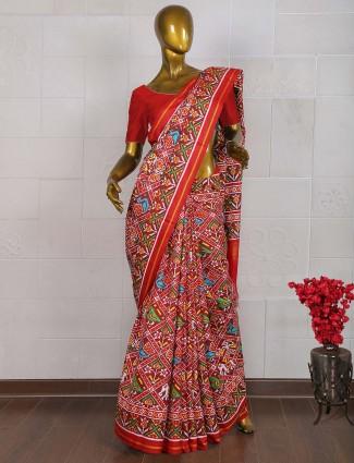 Bright red wedding occasion patan patola saree