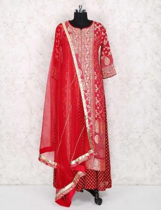 Bright red wedding wear anarkali suit