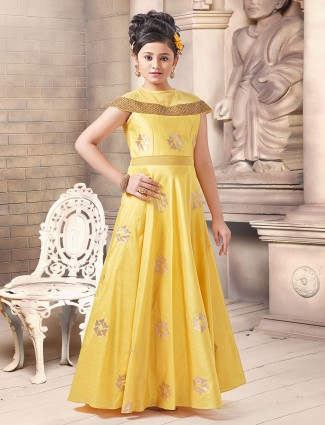 Bright yellow anarkali gown for girls